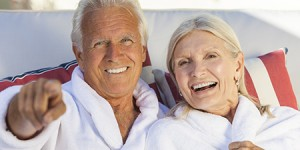 old couple smiling Dr. Joe Thomas Dentistry