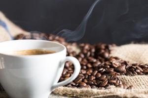 Coffee cup and coffee beans, hot coffee, teeth whitening Dr. Joe Thomas Dentistry